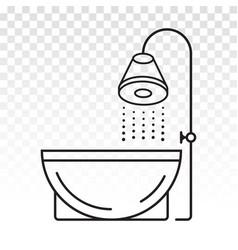 Bathtub bath tub bathroom interior line art icon vector
