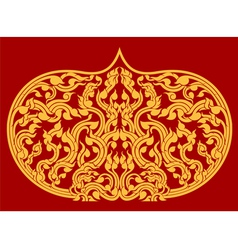 Beautiful Thai art pattern on red background vector
