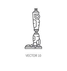 Bionic robot leg prosthesis line icon bionic vector