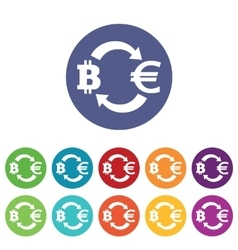 Bitcoin-euro exchange icons colored set vector