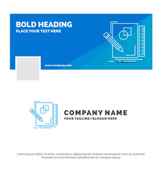 blue business logo template for sketch sketching vector image