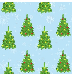 Blue seamless pattern with new year trees and snow vector