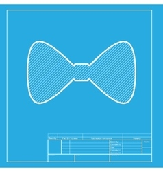 Bow Tie icon White section of icon on blueprint vector image