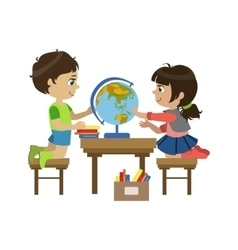 Boy And Girl With The Globe vector