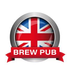 British brew pub badge sign vector