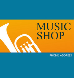 business card for music shop vector image