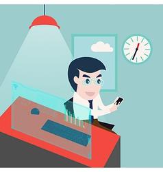 businessman using smartphone and computer desktop vector image