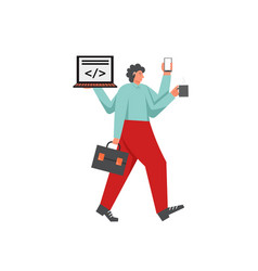 busy businessman flat style design vector image
