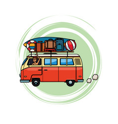 Camper van with baggage vector