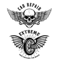 Car repair emblems wheel with wings skull with vector