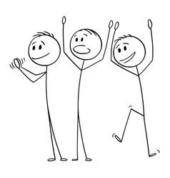 Cartoon group three happy men vector