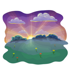 Cartoon or flat evening landscape background at vector