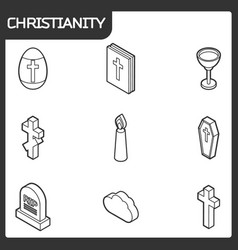 Christianity outline isometric icons vector