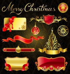 Christmas golden design elements vector image