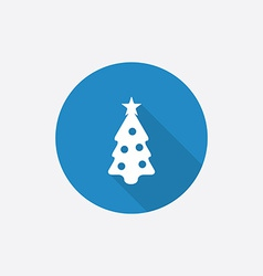 Christmas tree Flat Blue Simple Icon with long vector image