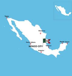 Colorful mexico map with state borders vector