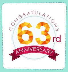 Colorful polygonal anniversary logo 3 063 vector