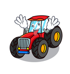 Crazy tractor mascot cartoon style vector