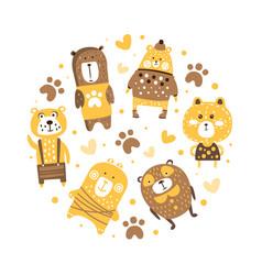 cute adorable brown bears in circular shape banner vector image