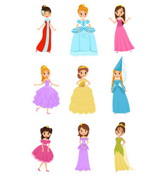 Cute little princess girls set beautiful little vector
