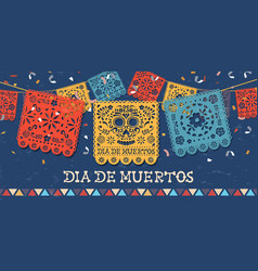 Day dead papercut mexican skull banner vector