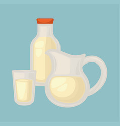 Delicious fresh milk in small glass big jug and vector