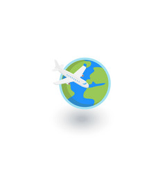 earth planet plane trip around the world vector image