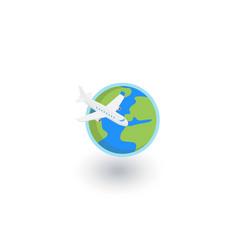 earth planet plane trip around world vector image