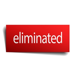 Eliminated red square isolated paper sign on white vector