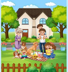 family member cartoon character in garden vector image