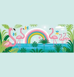 flamingo rainbow palm leaves vector image