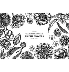 floral design with black and white poppy flower vector image