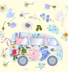 flower bus pattern vector image