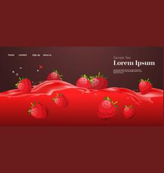 fresh red strawberry juice liquid splash realistic vector image