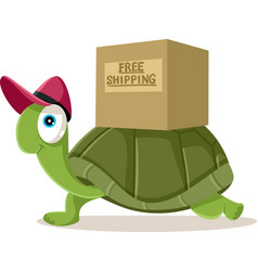 Funny courier turtle free shipping vector