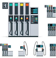 Gas station pumps set vector