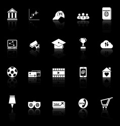 General online icons with reflect on black vector