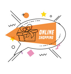 gift present with shopping online concept vector image