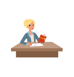 girl sitting at the desk reading book and writing vector image