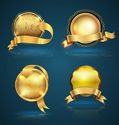 Gold badge ribbon set vector image
