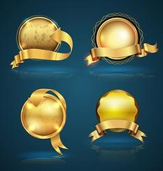 Gold badge ribbon set vector
