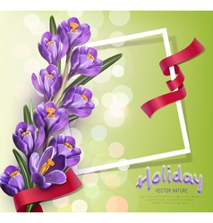 greeting card with blue crocuses vector image