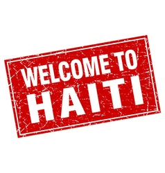 Haiti red square grunge welcome to stamp vector