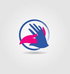 hand shake social charity cooperation logo sign vector image