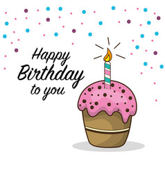 Happy birthday decoration with cake and candle vector