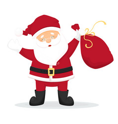 Happy cartoon santa claus with red bag with vector