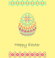 Happy easter background with easter egg and tribal vector
