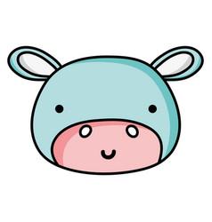 Happy hippopotamus head wild animal vector