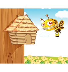 honey bee and wooden house vector image