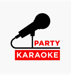 Karaoke party club label of microphone ofr vector